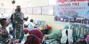 Tinjau Donor Darah, Dandim Ngawi Apresiasi Pendonor dan Ingatkan Tetap Patuhi Protokol Kesehatan