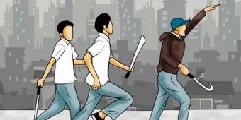 Viral di Medsos ABG Acungkan Celurit di Jalan Raya, Sudah Diamankan Satreskrim Polresta Sidoarjo