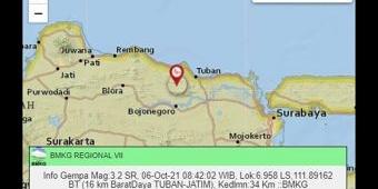 Tak Terasa, Tuban Diguncang Gempa 3,2 Skala Richter