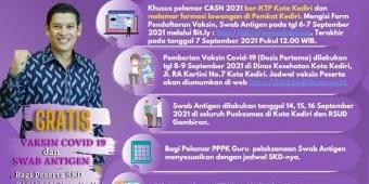 Wali Kota Kediri Gratiskan Vaksinasi Covid-19 dan Swab Antigen bagi Pelamar CASN 2021